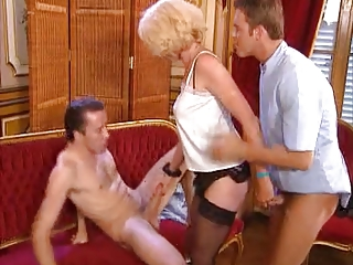 Mature milf gets double filled