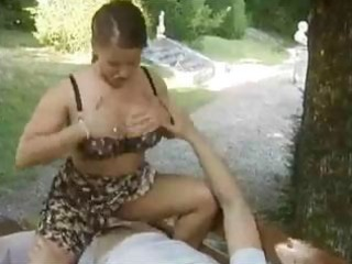 busty older german angel sits on his young penis
