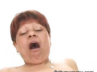 older short hair granny in dark hose having sex