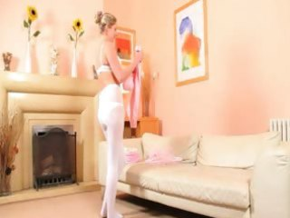 sexy mama in white pantyhose strip