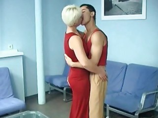 short haired blonde milf screwed anally by her