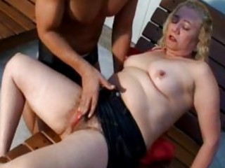 lusty golden-haired older gives astounding oral