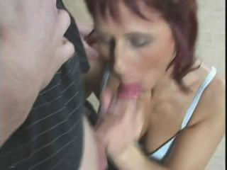 redhead mama acquires fingered, eats cock and