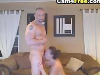 deepthroating wife made him cum inside her face