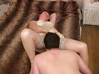 aged dominatrix - licking her feet, ass &;