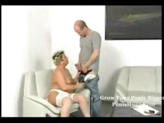 bulky golden-haired granny getting it is on with