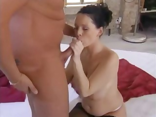 cute breasty preggy brunette hair eats his dong