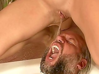 granddad and young angel pissing and fucking