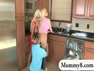 massive scones stepmom busts youthful couple