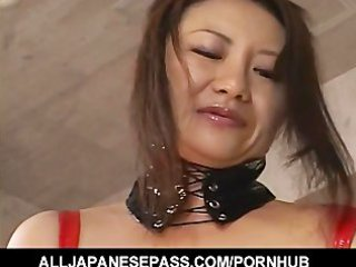 lustful japanese d like to fuck in red latex with