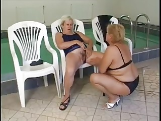 aged lesbian babes fuck by the pool