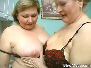 sexy golden-haired obese milf hoes make out