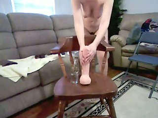 wife with agreeable breast rides giant vibrator