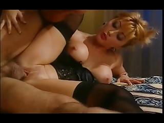 hawt oriental wife in satin basque &; nylons