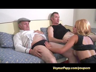 three-some with voyeur papy
