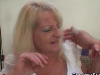 drunk blonde granny in sexy three-some fuckfest