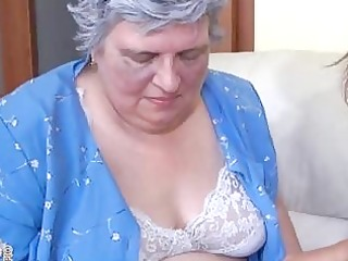 old breasty granny playing with skinny girl