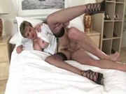 aged stocking brit sonia fuck and facial